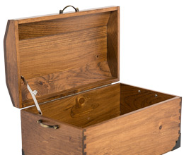 Empty wooden chest available from Toys in a Box