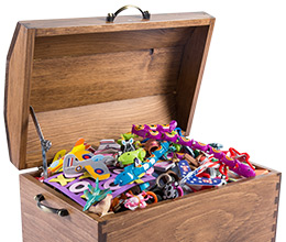 Wooden chest full of toys from Toys in a Box